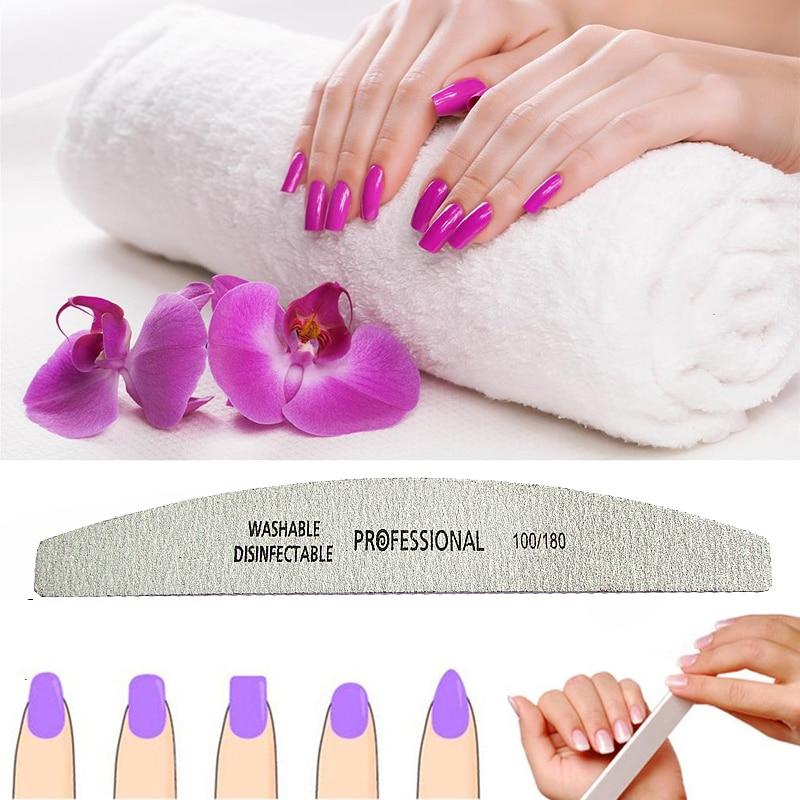 100 Pcs Wholesale Professional Grey Moon Design 100/180 Gift Nail File Buffing Sandpaper Slim Sanding Sandpaper Nail Art  Tool