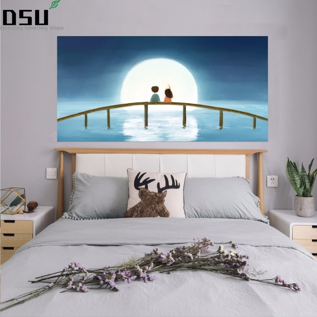 3D Cartoon Two Kids on the Bridge Under the Moon Decor Headboard Wall Stickers art poster Bedroom Baby Children's Home Decals