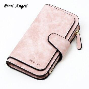 310aa44b8f61 Бумажник бренд Портмоне из искусственной кожи Для женщин бумажник кошелек  женский держатель для карт длинные леди сцепления кошелек carteira .