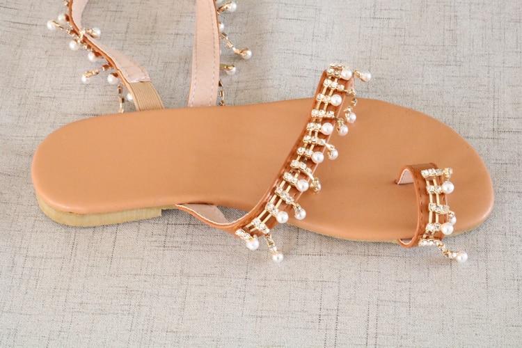 HTB1nQMWaJfvK1RjSspfq6zzXFXaF Women sandals summer shoes flat pearl sandals comfortable string bead slippers women casual sandals size 34 - 43