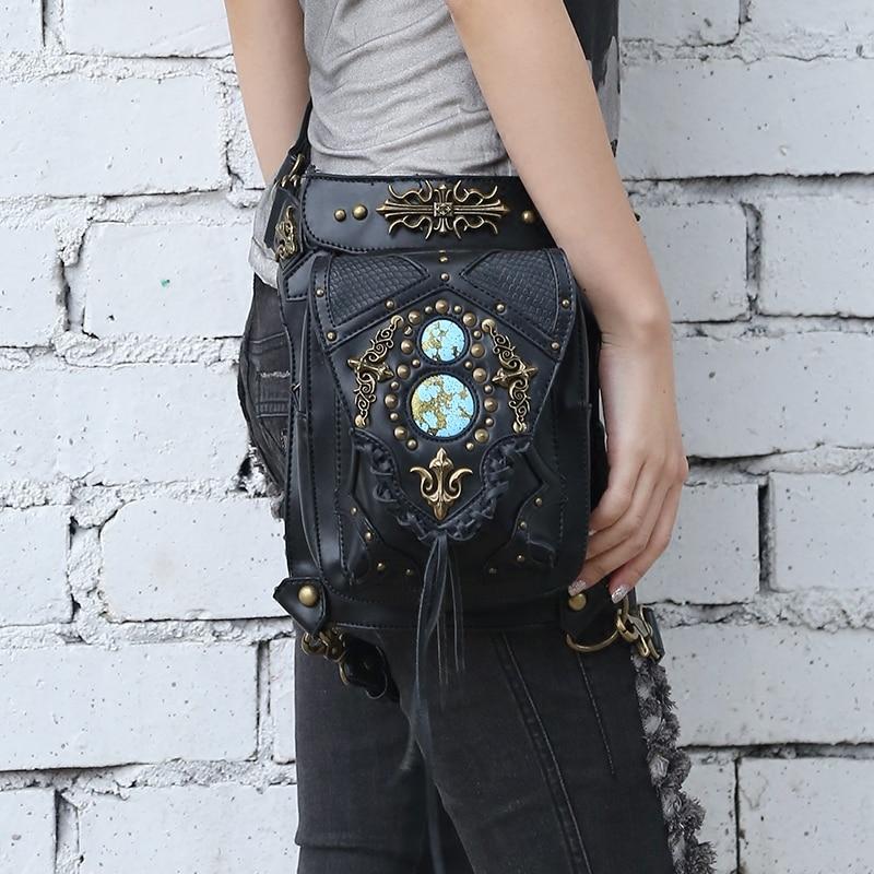 Women/Men Rave Gothic Goth Steampunk Rock Waist Pocket Shoulder Holster Bag Cosplay футболка punk rave t378bk steampunk