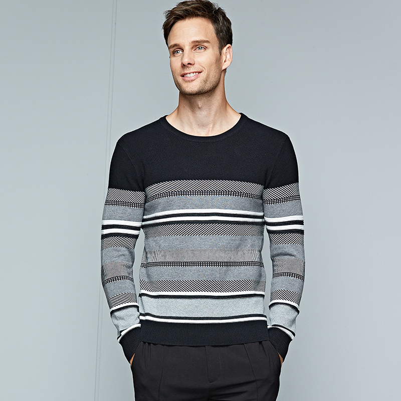 Mens Sweaters Warm Striped Sweater Male O Neck Long Sleeves High Quality New 2018 Men Pullovers Pull Homme Clothes Size M 3XL