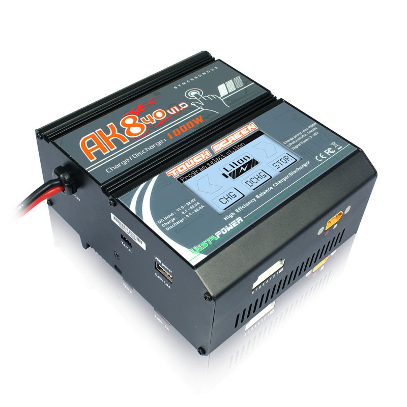 Original EV-PEAK AK840 Touch Screen Balance Charger 1000W 40A High Power Lipo Battery Charger Support DC Input icharger 4010duo multi chemistry dc battery charger 10s 40a 2000w