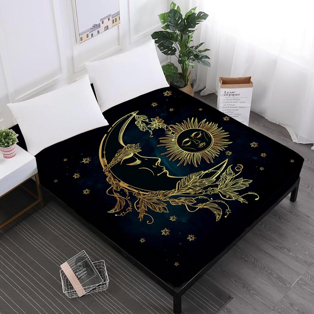 Lençóis de Cama de Impressão Da Estrela Da Lua de ouro Mandala e Lençóis Rei Rainha Coroa de Impressão Folha de Capa de Colchão Elástico Macio Preto d35