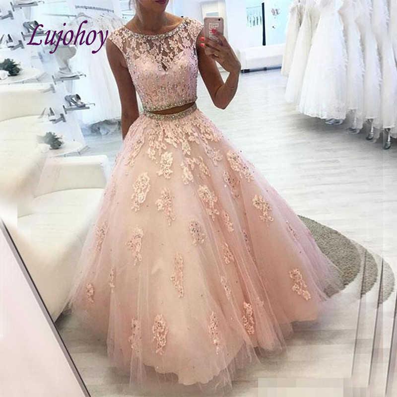 Merah Muda Renda Quinceanera Gaun Ball Gown Plus Ukuran Dua 2 Buah 15 Tahun Enam Belas Manis 16 Prom Gaun debutante