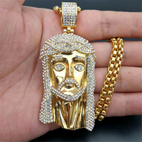 Men's Necklace Jesus Christ Head Pendant With Stainless Steel Chain and Iced Out Bling Rhinestone Necklace Hiphop Golden Jewelry