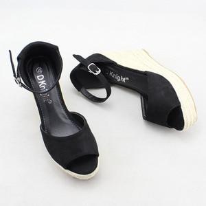 Image 5 - Size 32 44 Wedges Women Sandals Open Toe White Pu Leather High Heel Pumps Hot Black Flock Ankle Strap Wedges Lady Platform Shoes