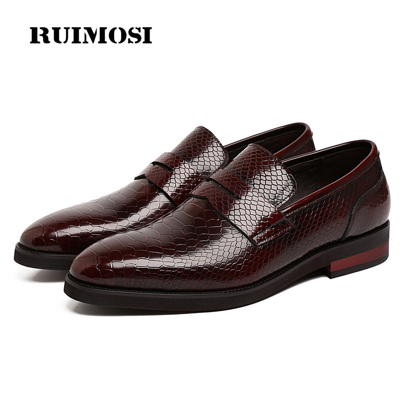 RUIMOSI Pointed Toe Handmade Snakeskin Man Casual Shoes Patent Leather Male Loafers Luxury Brand Men's Comfortable Flats NC98