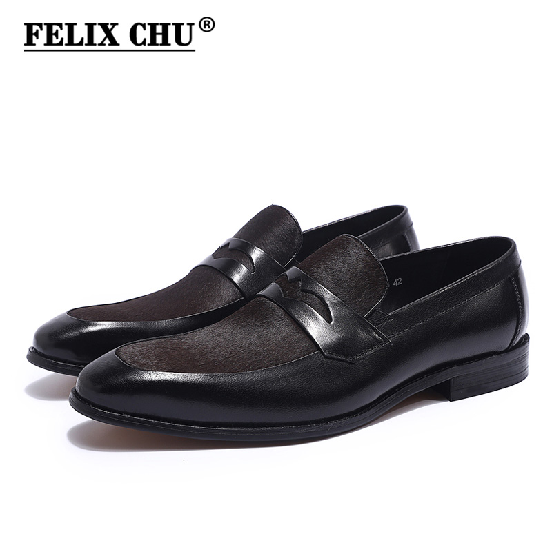 FELIX CHU Luxury Mens Black Penny Loafers Genuine Cow Leather With Dark Brown Horse Hair Pointed toe Men Formal Dress Shoes fashion horse hair tassels leather leopard pattern flat shoes black brown pair 37