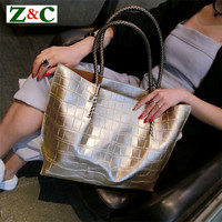 Hot Sale High Quality Leather Women Bags Crocodile Pattern Handbag Fashion Simple Big Gold Tote Shoulder