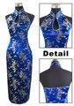 Темно-Синий Традиционных Китайских женщин Атласная Холтер Cheongsam Долго Qipao спинки Платье Костюм Одежда Sml XL XXL XXXL J3400