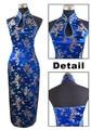 Azul marinho de Cetim Cabresto Cheongsam Longo Qipao das mulheres do Chinês Tradicional Backless Traje Vestido Roupas S M L XL XXL XXXL J3400