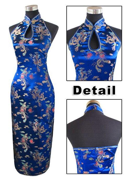 Tmavě modrá tradiční čínská dámská saténová halter Cheongsam dlouhá Qipao šaty s podšívkou kostýmy S M L XL XXL XXXL J3400