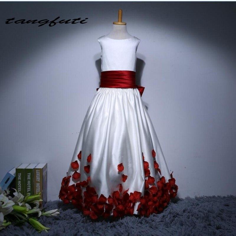Lovely   Flower     Girl     Dresses   New Satin Ball Gown Scoop Floor Length Bow First Communion   Dresses   For   Girls   Custom Kid   Flower   Gowns