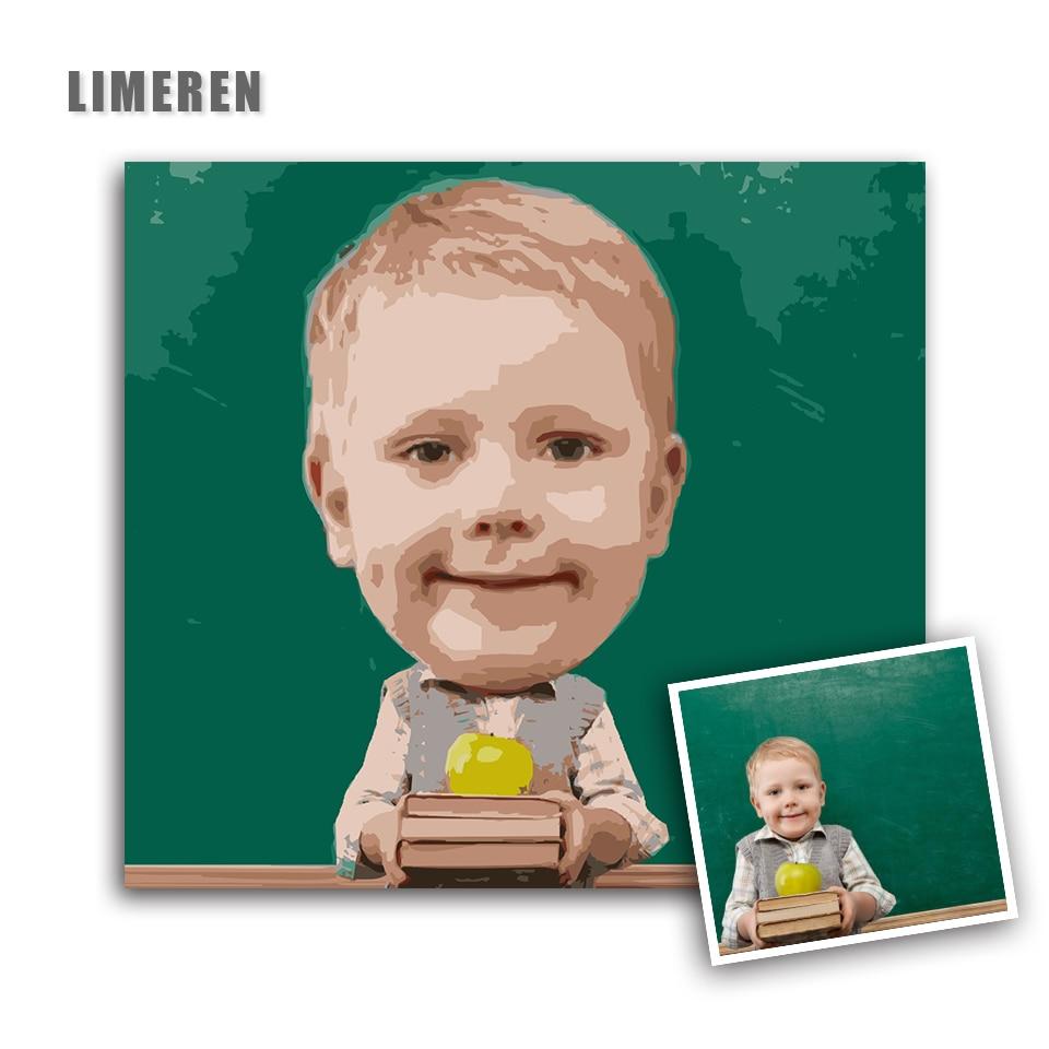 Osobowość zdjęcie dostosować swój własny DIY obraz olejny numerów duża głowa lalki dzieci zdjęcia kanwa rysunku w Malarstwo i kaligrafia od Dom i ogród na  Grupa 1
