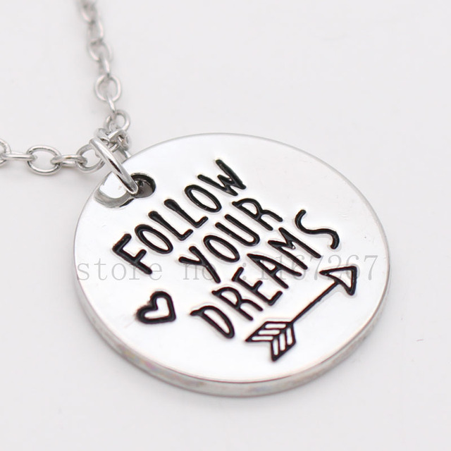 Follow your dreams hand stamped necklace inspirational necklace follow your dreams hand stamped necklace inspirational necklace dream necklace dream aloadofball Choice Image