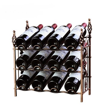 1 PCS  European style wine rack 12 bottles of wrought iron wine rack multifunctional rack (Without bottles and cups) LU719423