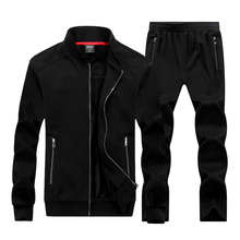 Large size 8XL 2018 New Autumn Winter Men Sporting Suit Jacket+Pant Sweatsuit Two Piece Set Tracksuit Sportswear Thick Clothing