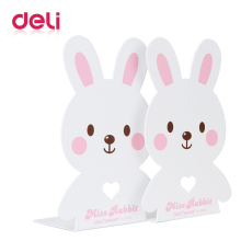 Deli 2pcs/pair cartoon metal bookends Korea Creative Bookends Decorative Cute Animal  Bookend for Reading Support Kid Gifts book holder for reading creative metal book clip bookstand london telephone booth iron bookends cartoon stationery a pair of pcs