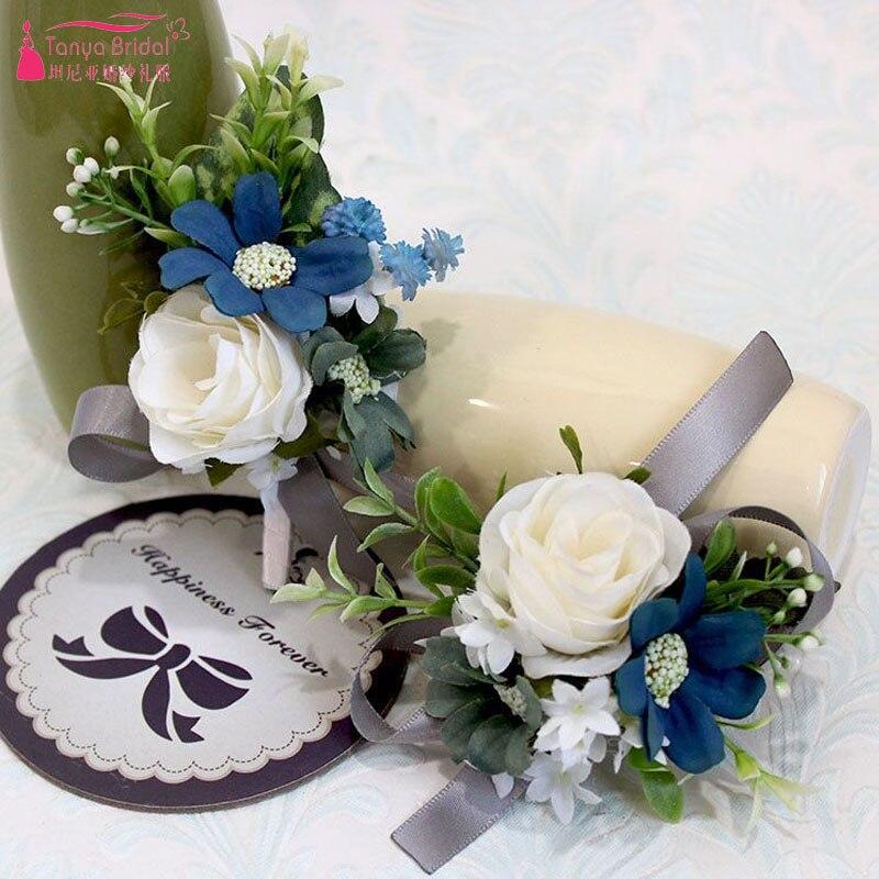 Hochzeit Zubehör Weddings & Events Forset Hochzeit Blumen Elfenbein Dark Navy Silber Brautjungfer Handgelenk Korsagen Künstliche Multi Farbe Hand Made Foto Blume Zhf05