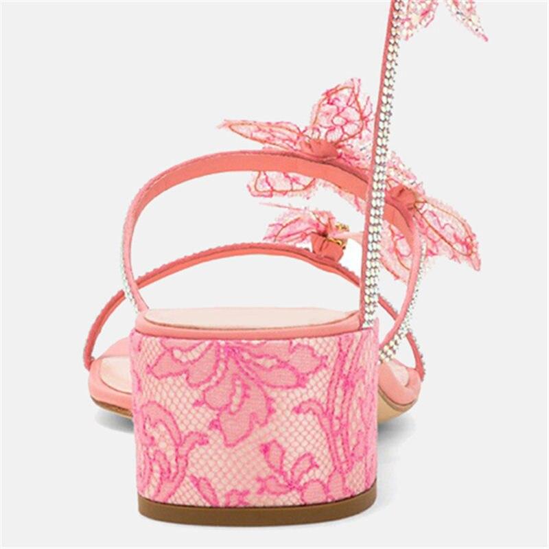 Forme Papillons Sandalias En A Chunky 2019 Enroulement Serpent Chaussures Sandales Med Cristal Talons Femmes Rose De Spartiates Bretelles D'été Mujer cq6qw0rCf