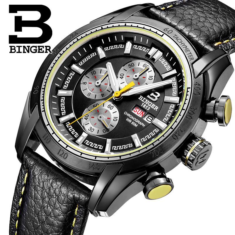 2017 watches men luxury brand Wristwatches BINGER Quartz Genuine Leather watch Sport Chronograph clock Diver glowwatch B1163-1