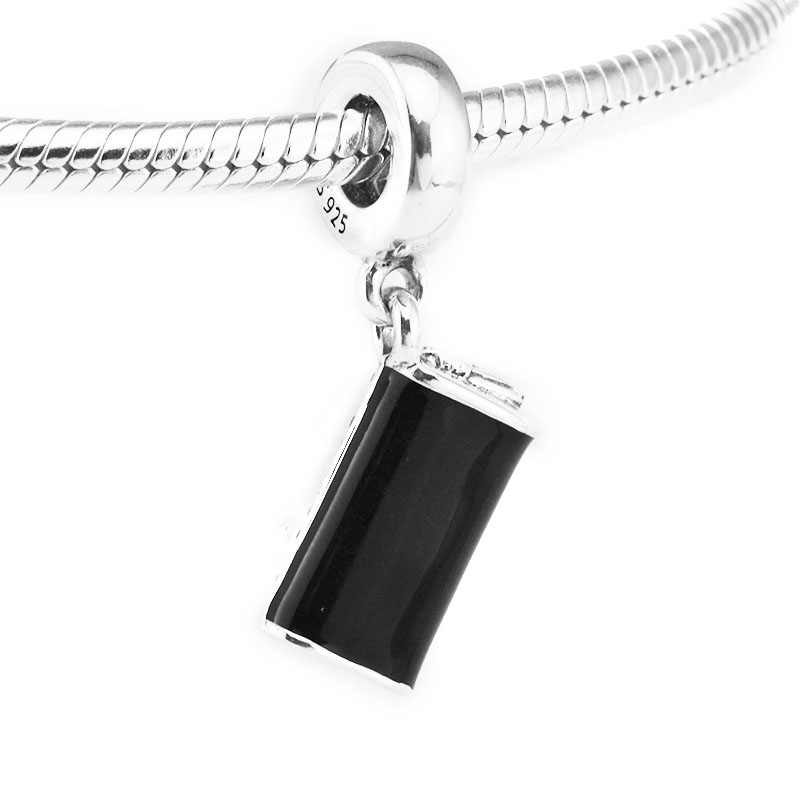 Fits For Pandora Bracelets Clutch Bag Charms with Black Enamel & Clear CZ 100% 925 Sterling-Silver-Jewelry Beads Free Shipping