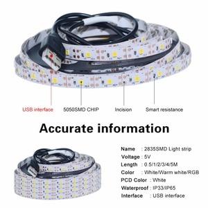 Image 2 - 5 فولت USB RGB LED قطاع ضوء 0.5 متر 1 متر 2 متر 3m 4 متر 5 متر SMD 2835 60 المصابيح/متر LED مصباح لاصق ديود الشريط مع 24 مفتاح RGB تحكم