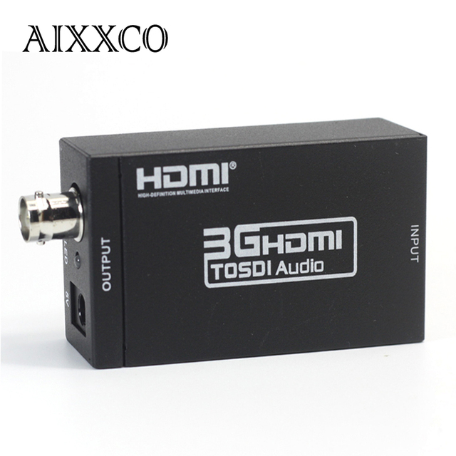 AIXXCO Mini 3G 1080P HDMI To SDI SD-SDI HD-SDI 3G-SDI HD Video Converter With Power Adapter