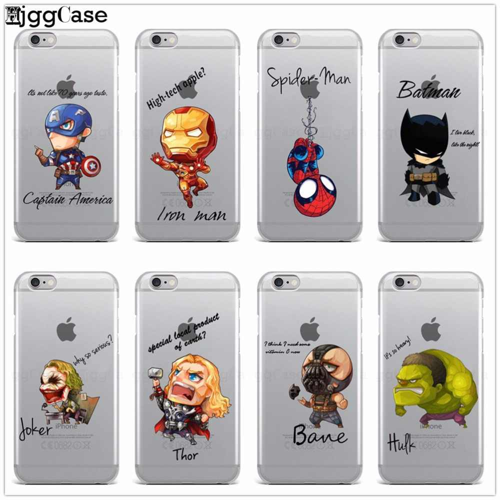 Spiderman Iron Man Capitán América vengadores funda de teléfono para IPhone 6 6 S 7 8 Plus X 5 5S SE fundas suaves de silicona Super Hero