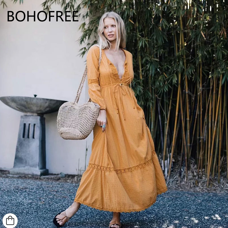 dcd75ade045 BOHOFREE Lace Patchwork Maxi Dress V Beck Long Sleeve Lace Up Vestidos  Tunic Waist Long Hippie. US  23.38. 2017 Boho Chic Gypsy ...