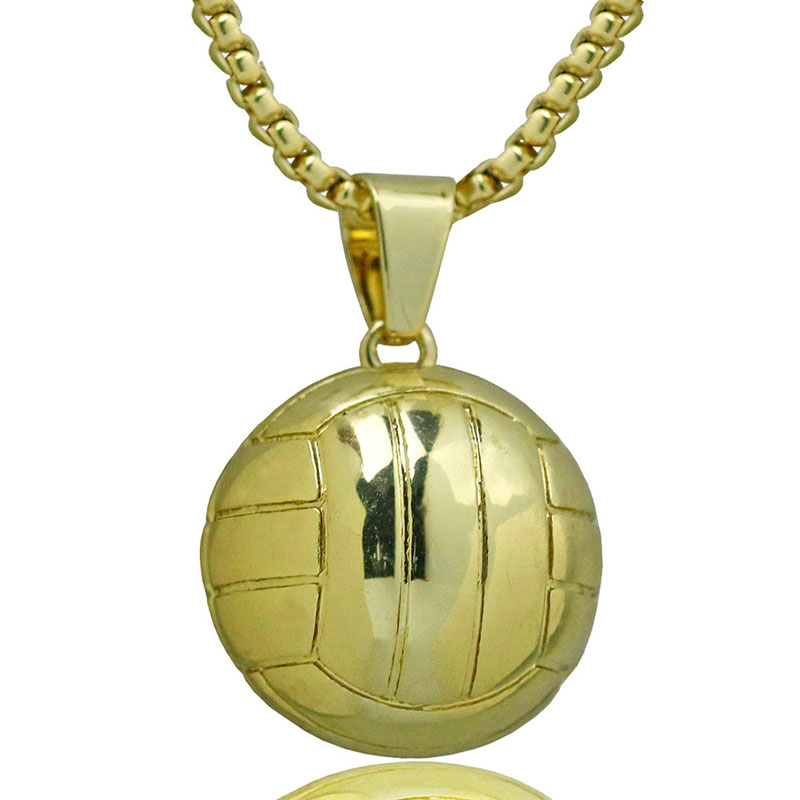 Men Volleyball Necklace Pendant Stainless Steel Chain Gold Color Ball Lover Sport Charm Necklaces Athletic Strength Jewelry
