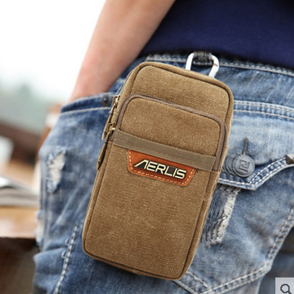 2018 New Mens Vintage Canvas Cell Mobile Phone Belt Pouch Purse Belt Fanny Pack Hook Waist Bag