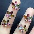 Mujeres natural Turmalina anillo de piedras Multicolores Genuina sólida plata de ley 925 joyas de plata joyas