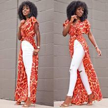 Bohemian maxi dress 2018 Summer floral printed beach dress sexy african women high slit boho robe party dresses все цены