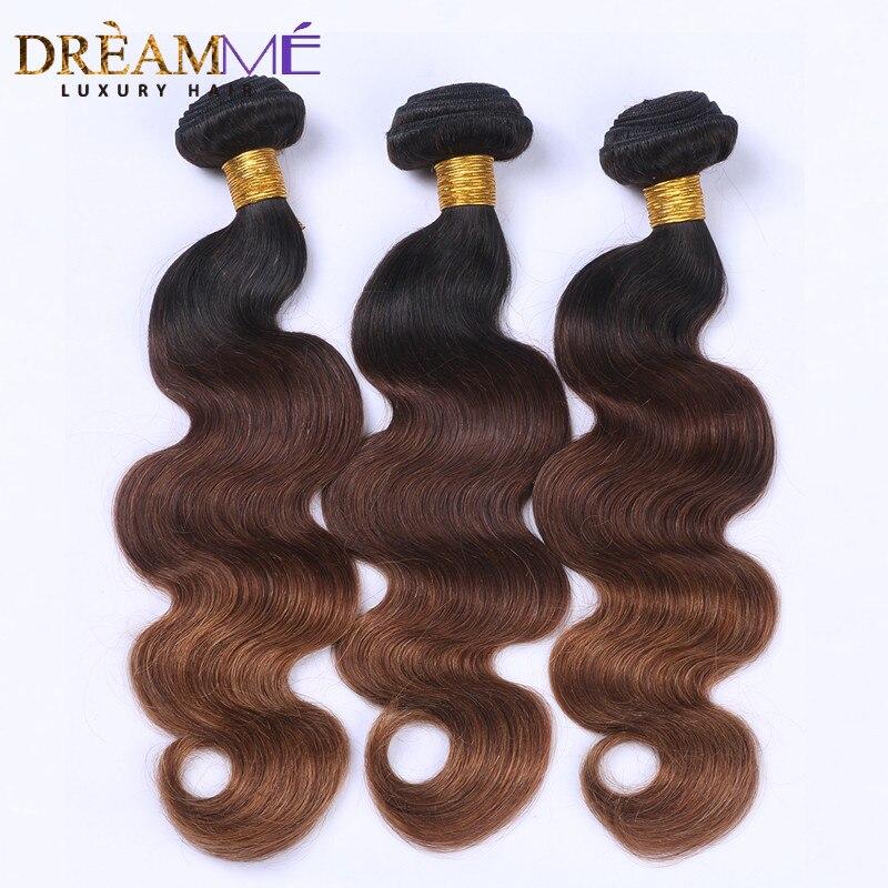#1B/4/30 Цвет объемная волна 3 пучки Ombre бразильского натуральные волосы Weave Ombre Наращивание волос Волосы remy Dreaming queen hair