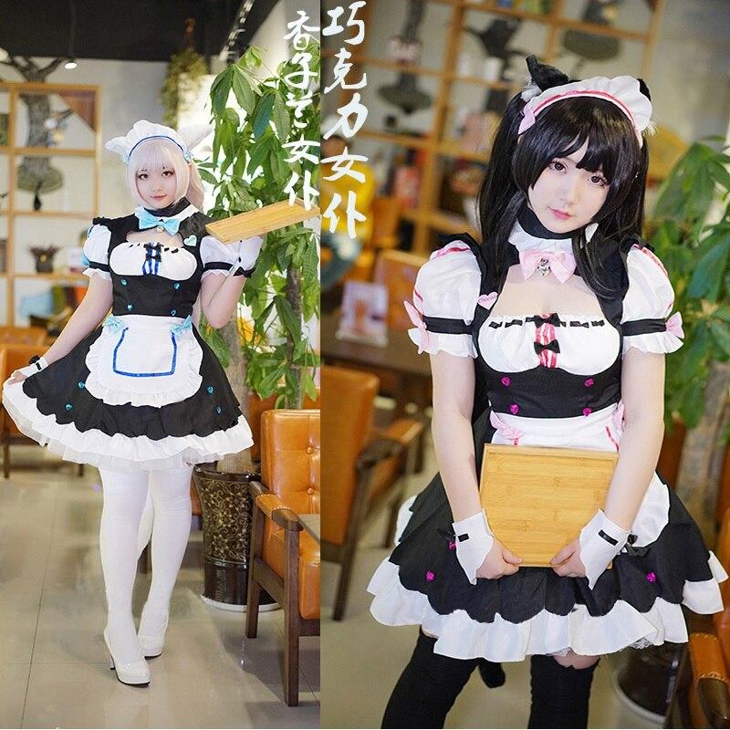 Game NEKOPARA Chocolat Vanilla Maid Outfit Apron Dress Meidofuku Cosplay Costume Cosplay Shoes Cute Lolita Dress