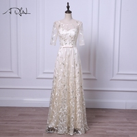 ADLN Scoop Evening Dresses with Sleeves Long Lace Party Dress Light Champagne Prom Gown Silver Robe de Soiree