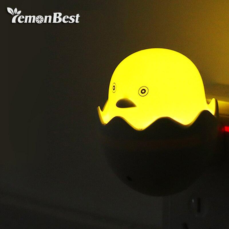 Baby Night Light Yellow Duck Led Night Light AC 110-240V Light Control Sensor Children Bedroom Cartoon Decor Lamp