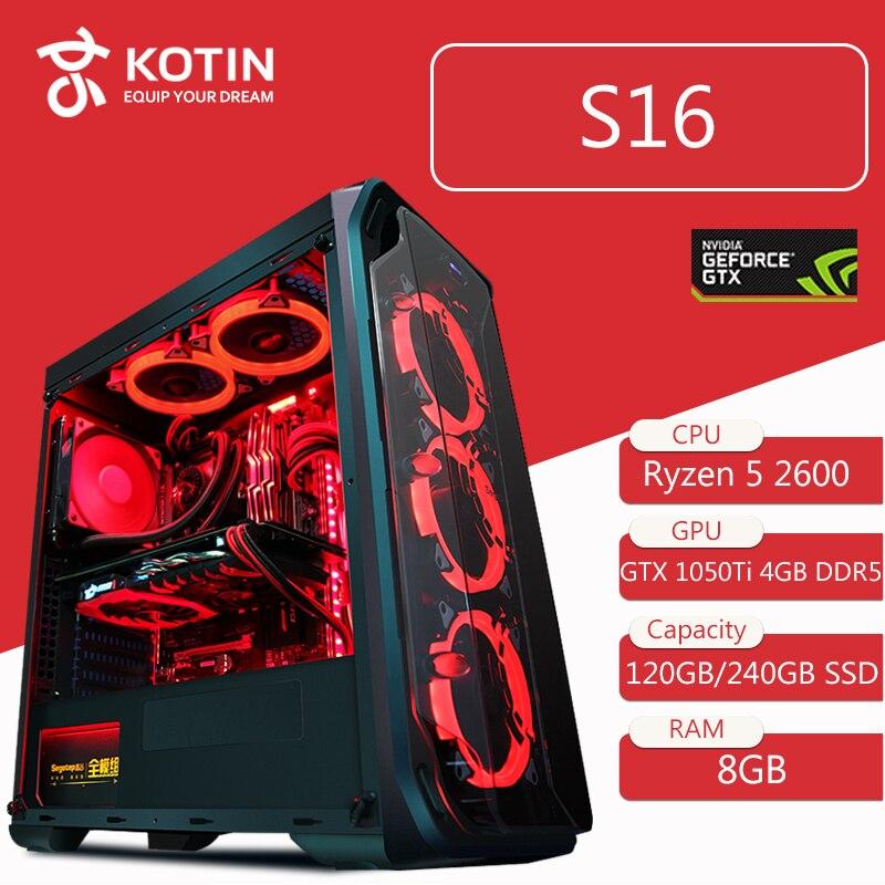 KOTIN S16 Ordinateur De Bureau Gaming PC AMD Ryzen5 2600 120 GB 240G SSD PUBG PC 400 W PSU 5 rouge LED Fans Télécommande Lumière Bar