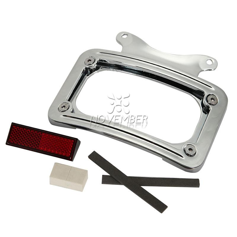 chrome motorcycle laydown license plate frame bracket for harley davidson street glide flhx road glide custom