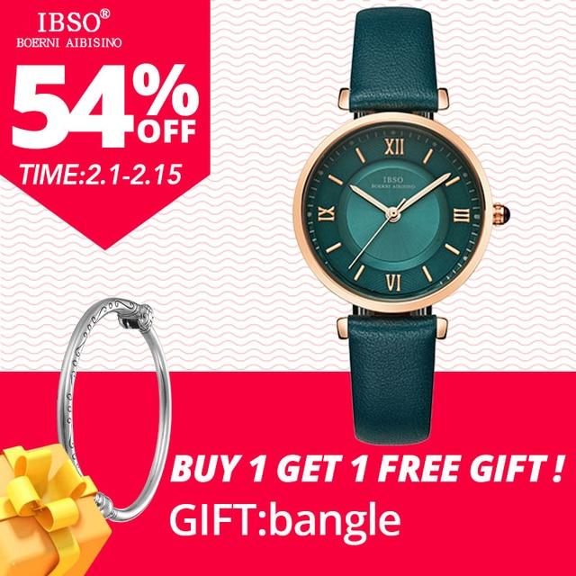 IBSO New Brand Women Watches 2018 Green Genuine Leather Strap Reloj Mujer Luxury
