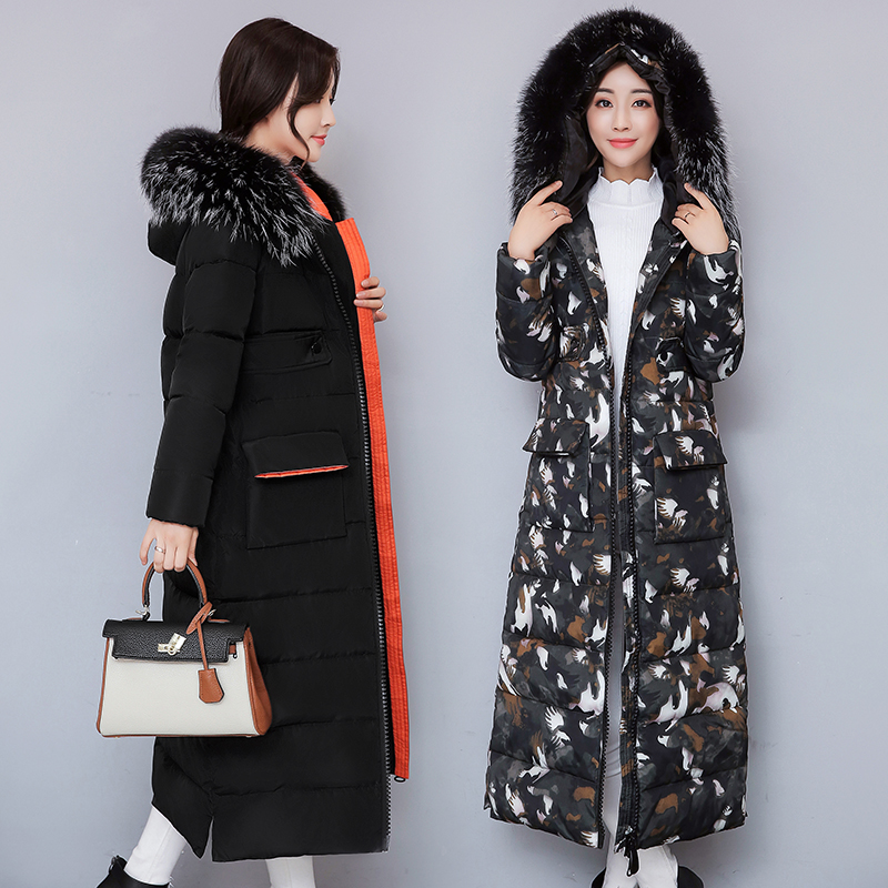 2017 New Women Long Winter Jacket Plus Size Warm Cotton Coat Hooded Fur Collar Female Parkas Wadded Outerwear MS8013 women winter jacket 2017 new fashion ladies long cotton coat thick warm parkas female outerwear hooded fur collar plus size 5xl