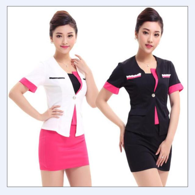 2015 Free Shipping Summer Style New Design Simple Women Office Skirt Suits White  Pink Carreer Uniform Excellent Work Wears