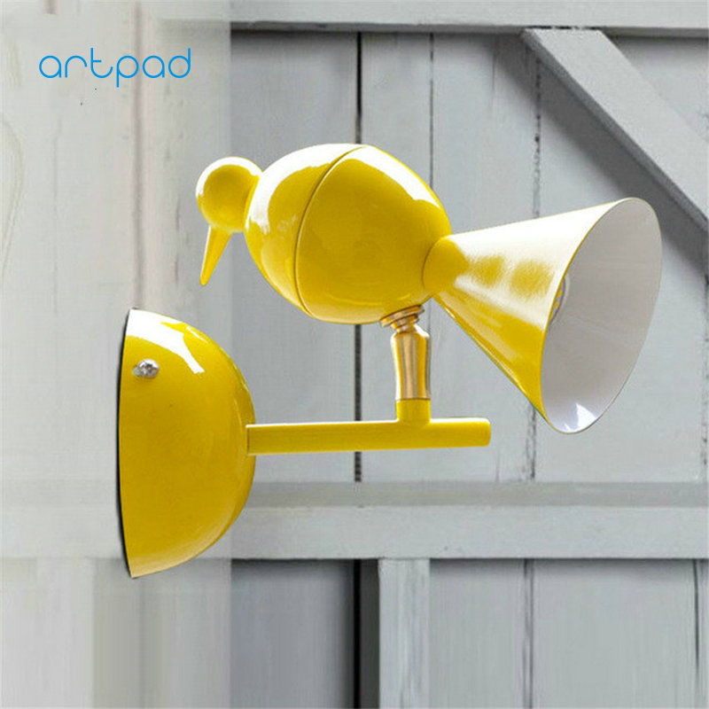 Artpad Nordic Creative Iron Sconce Wall Lights AC90-260V Multi Color Bird Wall Mount Lamp For Bedside Bathroom Kitchen Indoor