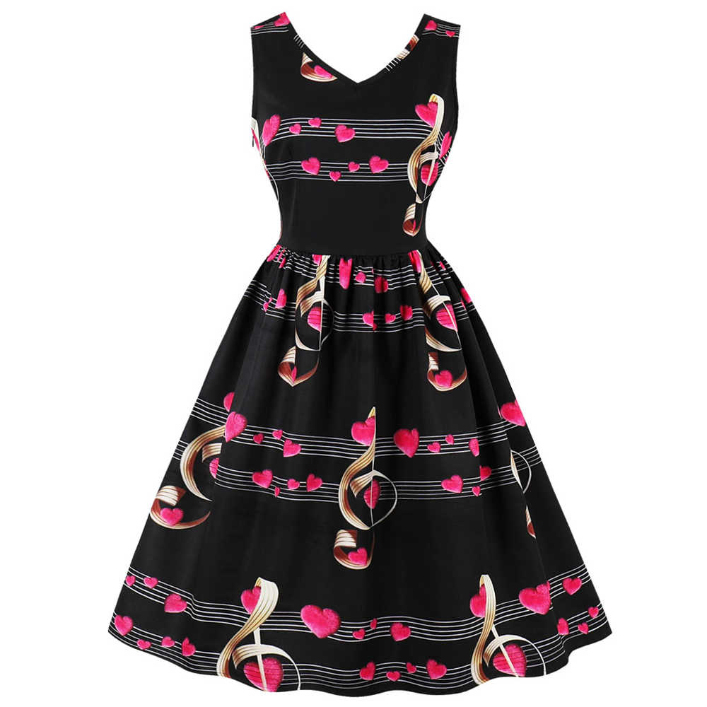 Retro Plus Ukuran Wanita Retro Vintage 2019 Heart Catatan Musik Cetak Musim Panas Gaun Pin Up 50 S Rockabilly Ayunan gaun Pesta