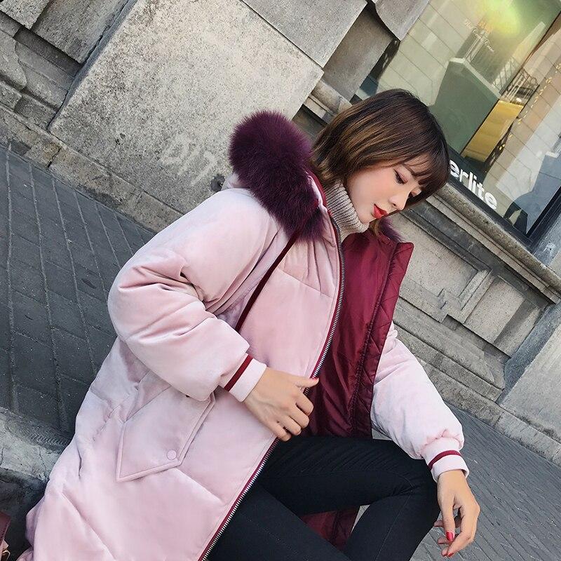De Fourrure À Épais Marée Lâche Occasionnel Manteau Capuchon Femmes Col Velours Parkas 2018 Nouvelles Mode D'hiver zqvtwFw