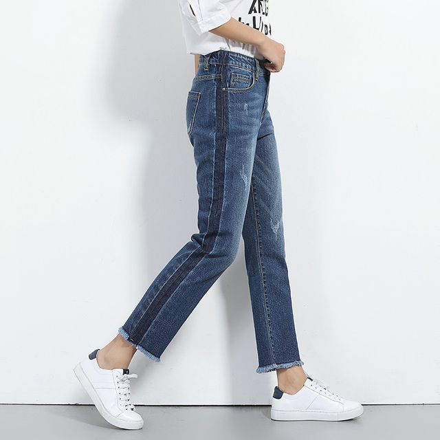 2018 LEIJIJEANS NEW Arrival jeans for women side shawdow mid waist loose straight jeans Panelled pants 6XL plus size women