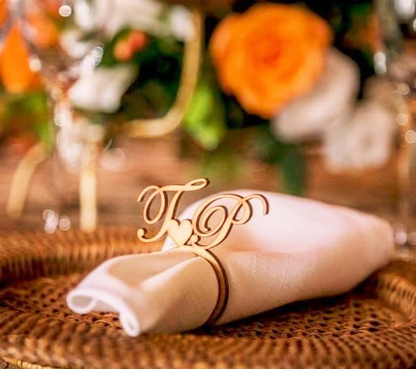 Personalized Wooden Wood Laser Cut Napkin Ring with Heart Wedding Party Table Decoration Birthday party deecoraitons