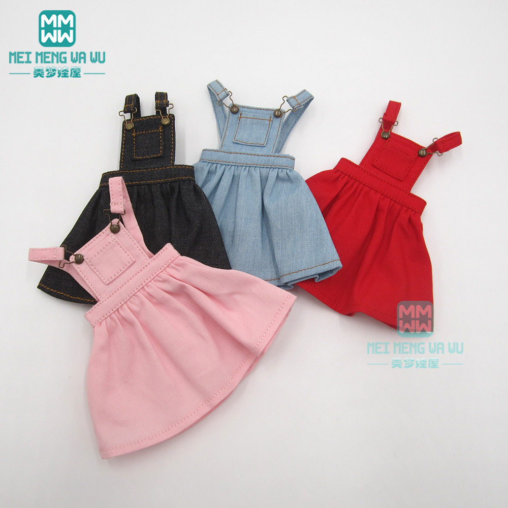 1pcs Blyth Doll Clothes Denim Strap Dress Black, Red, Denim Blue, Pink For Blyth , Azone1/6 Doll Accessories
